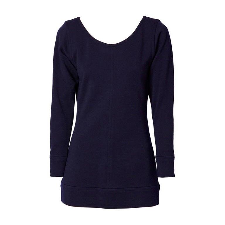 Yves Saint Laurent Navy Wool Knit Tunic 1