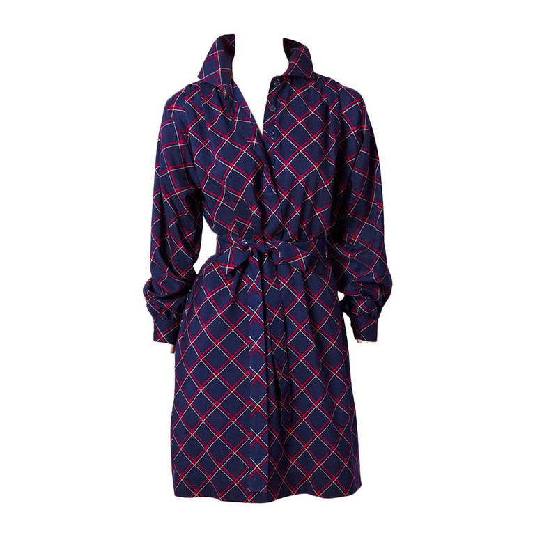 YSL Plaid Shirt Dress 1