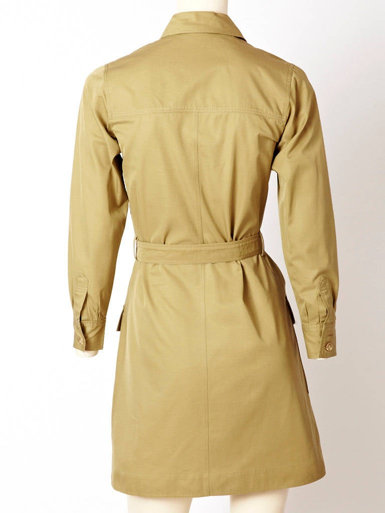 1970's Yves Saint Laurent Safari style khaki  tunic mini dress In Excellent Condition For Sale In New York, NY