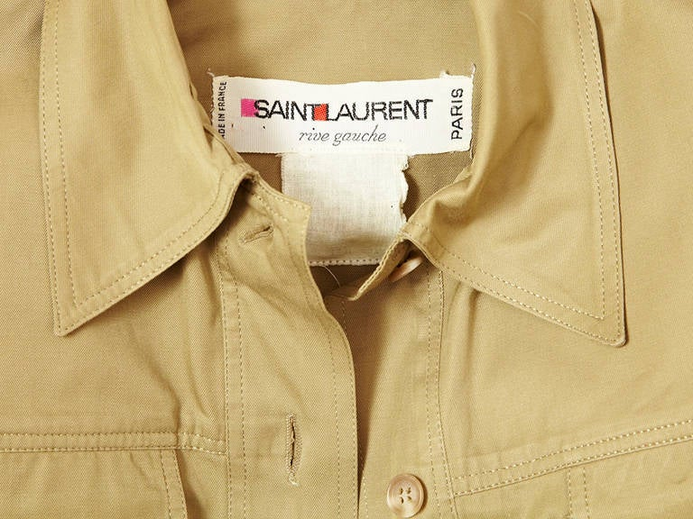Women's 1970's Yves Saint Laurent Safari style khaki  tunic mini dress For Sale