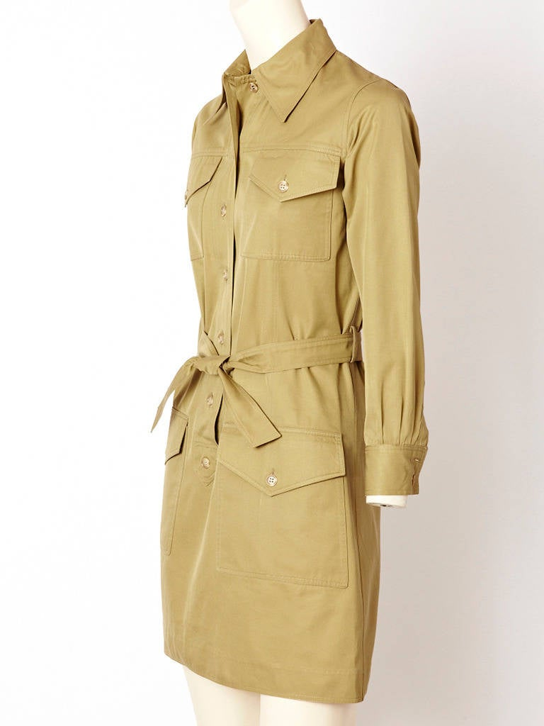 1970's Yves Saint Laurent iconic,  Safari style khaki  tunic mini dress