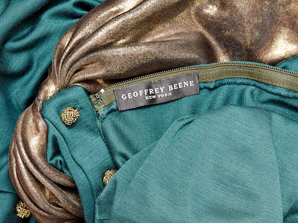 Geoffrey Beene Jersey Dress With Bronze Details In Excellent Condition For Sale In New York, NY