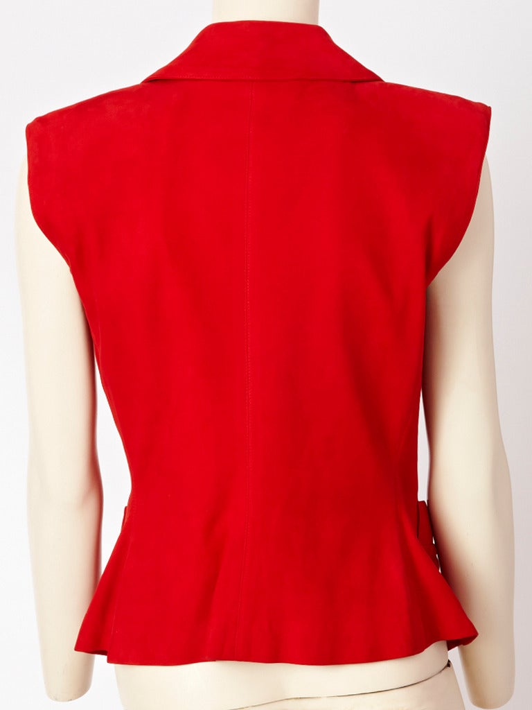 Red Yves Saint Laurent Suede Vest With Passementerie For Sale