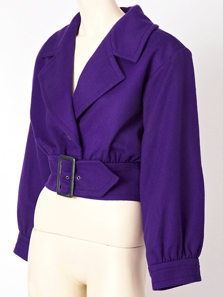 YSL, purple wool, blouson, belted jacket with wide lapels. Meant to be belted at the waist , creating a blouse like affect.