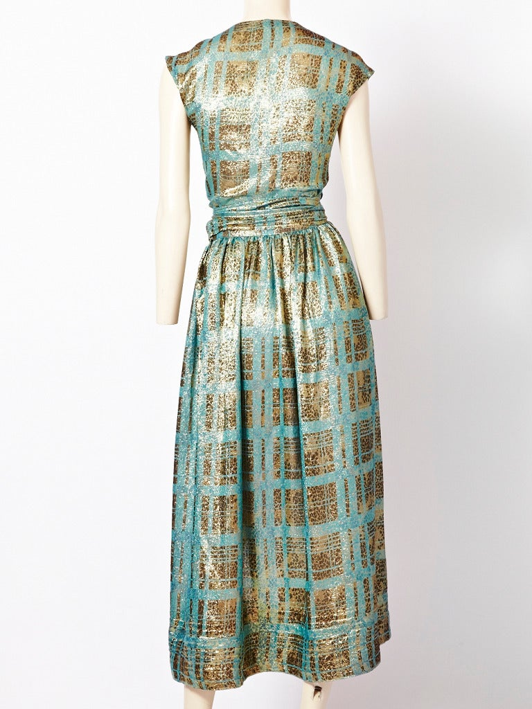 Gray Geoffrey Beene Gold Lame Ensemble For Sale