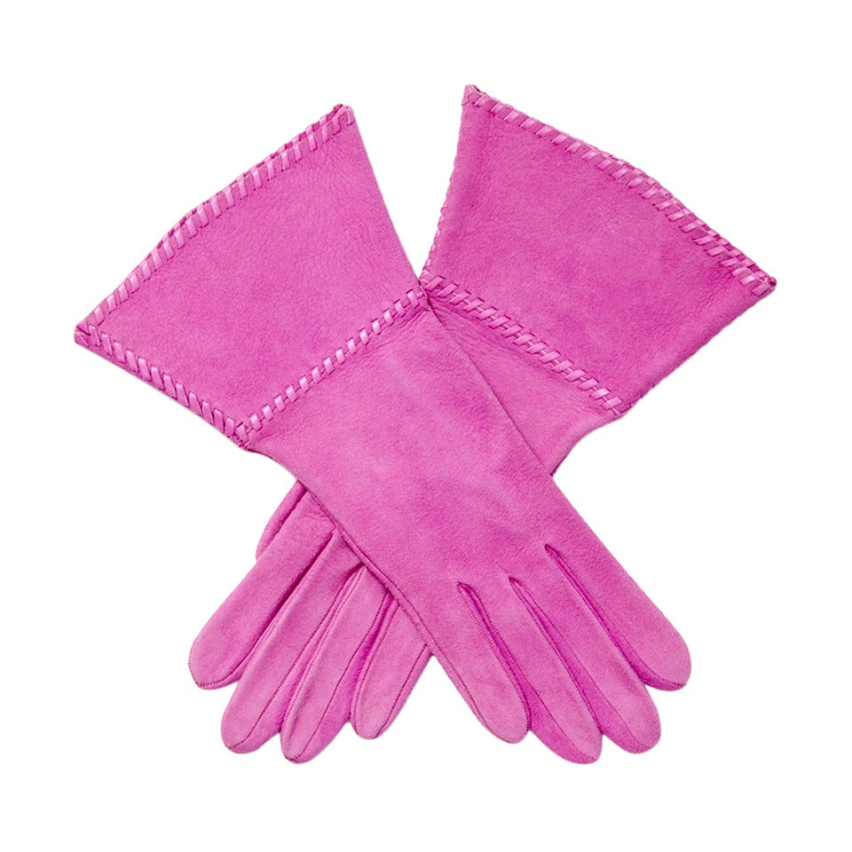 Yves Saint Laurent Rive Gauche Fuchsia Suede Gloves For Sale