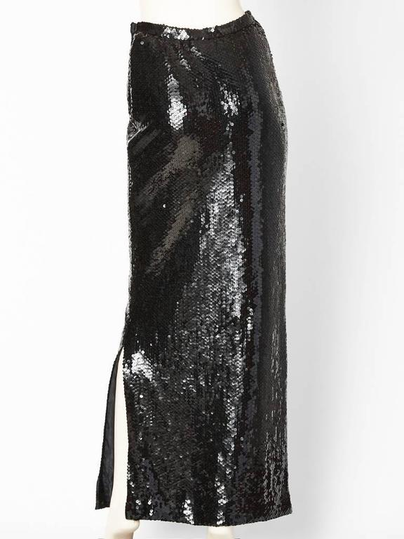 Black Bill Blass Sequined Evening Skirt For Sale