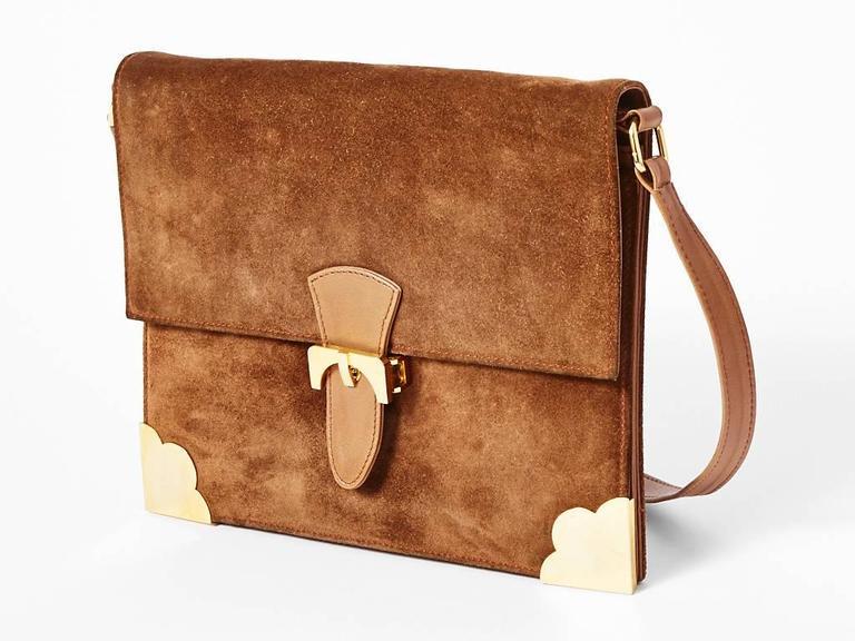 Lederer Fawn Colored Adjule Strap Shoulder Bag Lined In Leather With Gold