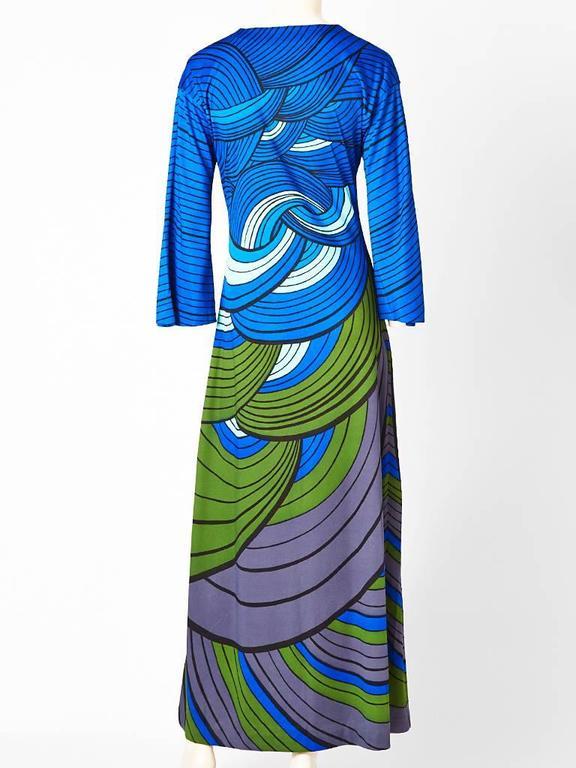 Blue Roberta di Camerino Graphic Print Jersey Maxi Dress For Sale