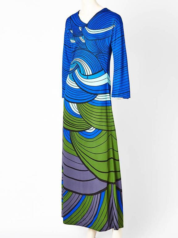 """Roberta di Camerino, jersey knit, graphic """" wave"""" print , A line, long sleeve, maxi dress, in shades of blues, greens and mauve. C. 1971"""