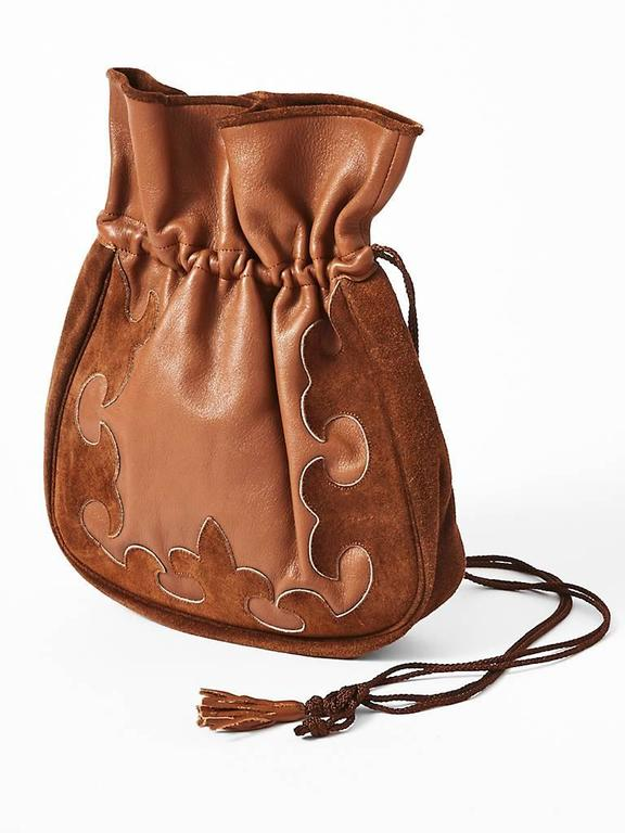 4a087277fd Brown Yves Saint Laurent Suede and Leather Drawstring Bag For Sale