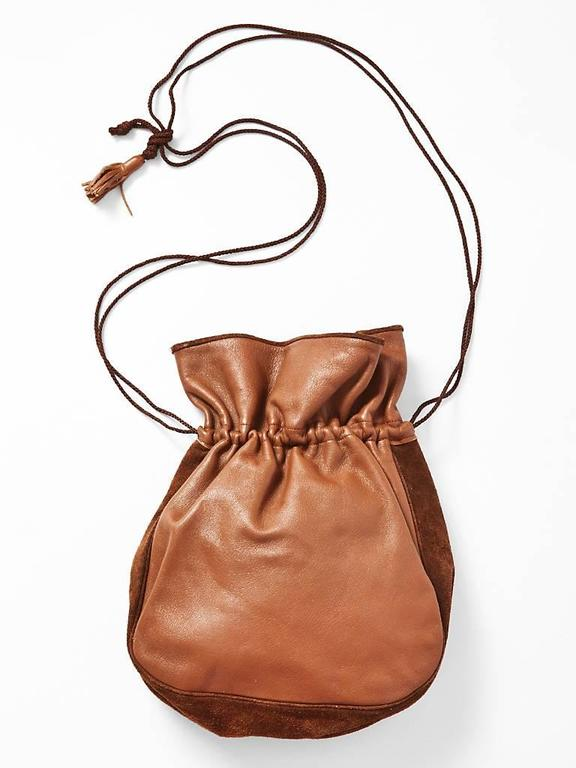 3db3c18022 Yves Saint Laurent Suede and Leather Drawstring Bag In Excellent Condition  For Sale In New York