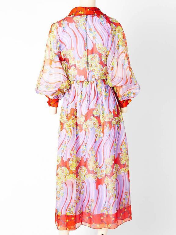 Beige Oscar de La Renta Organza Shirt Dress 1970's For Sale