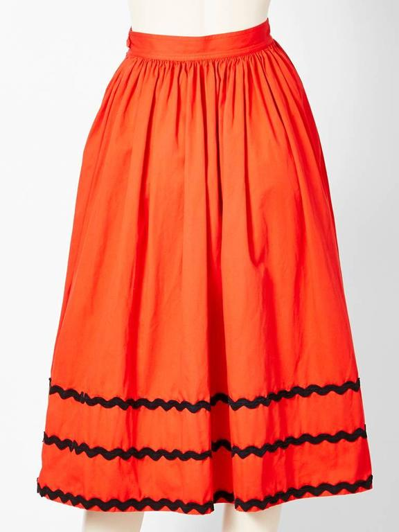 Red Yves Saint Laurent Skirt With Ric Rac Detail For Sale