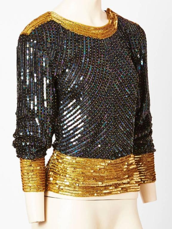 Yves Saint Laurent Bugle Beaded and Sequined Top 2