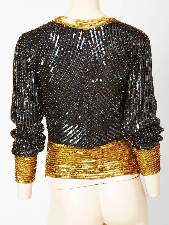 Yves Saint Laurent Bugle Beaded and Sequined Top 3