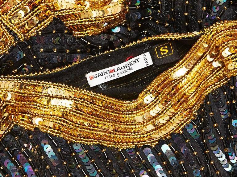 Yves Saint Laurent Bugle Beaded and Sequined Top 4