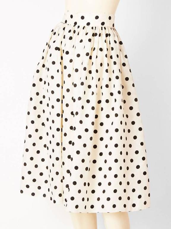 Valentino, black and white polka dot, organza, full, gathered skirt. Center, back zipper closure..