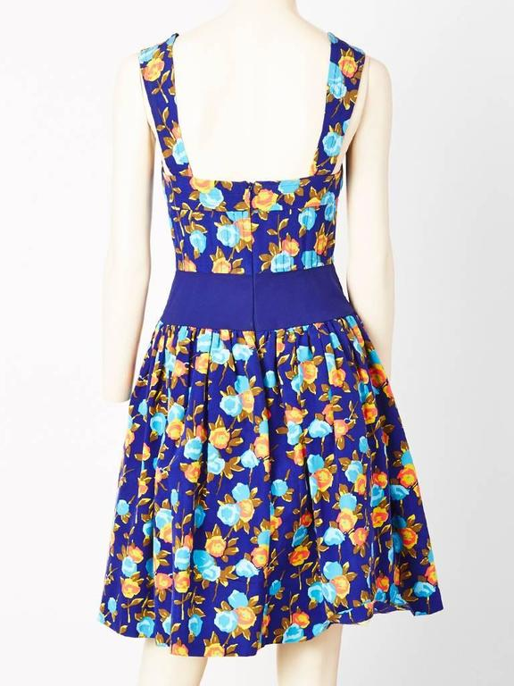 Purple Yves Saint Laurent Floral Print Dress With Sweetheart Neckline For Sale