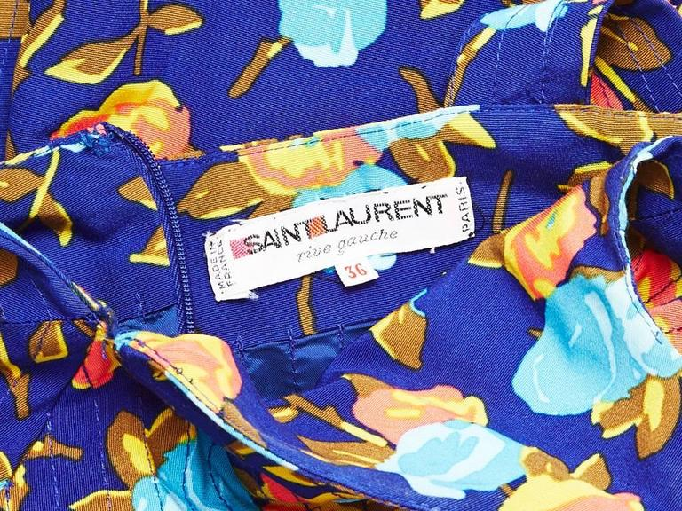 Yves Saint Laurent Floral Print Dress With Sweetheart Neckline In Excellent Condition For Sale In New York, NY
