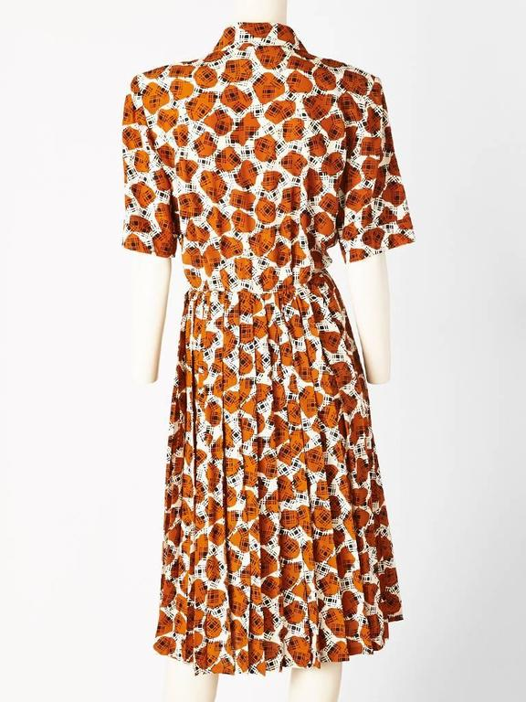 Brown Yves Saint Laurent Printed Day Dress For Sale