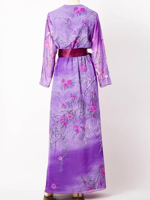 Purple Hanae Mori Floral Pattern V Neck Gown For Sale