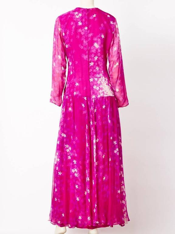 Purple Hanae Mori Floral Print Chiffon Gown For Sale