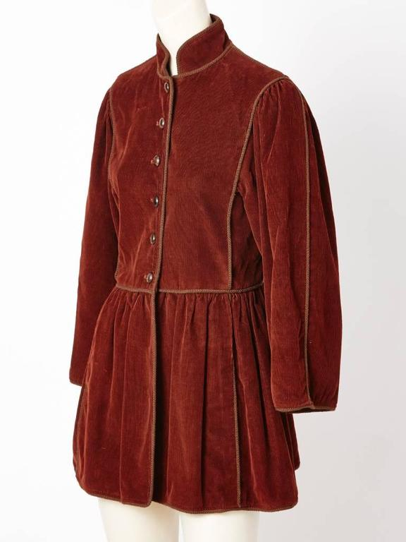 Yves Saint Laurent, rust, corduroy, Russian Collection jacket, c.late 70's.