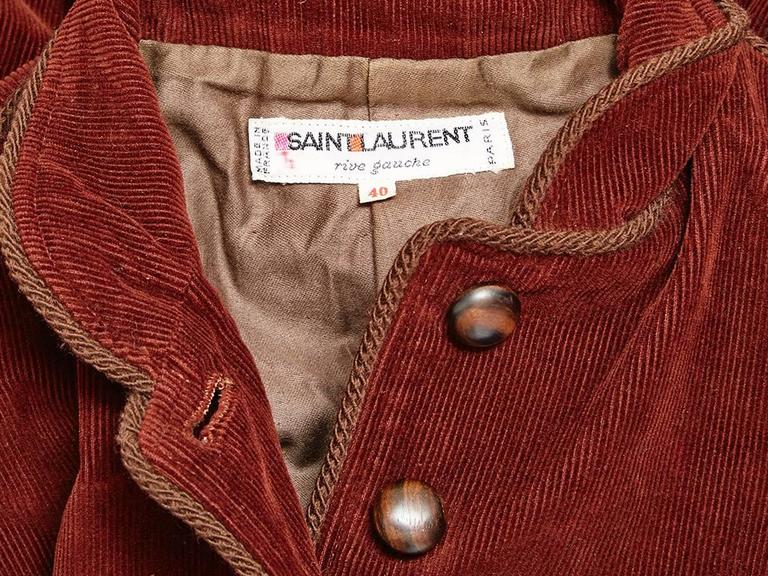 Yves Saint Laurent Rust Corduroy Russian Collection Jacket In Excellent Condition For Sale In New York, NY