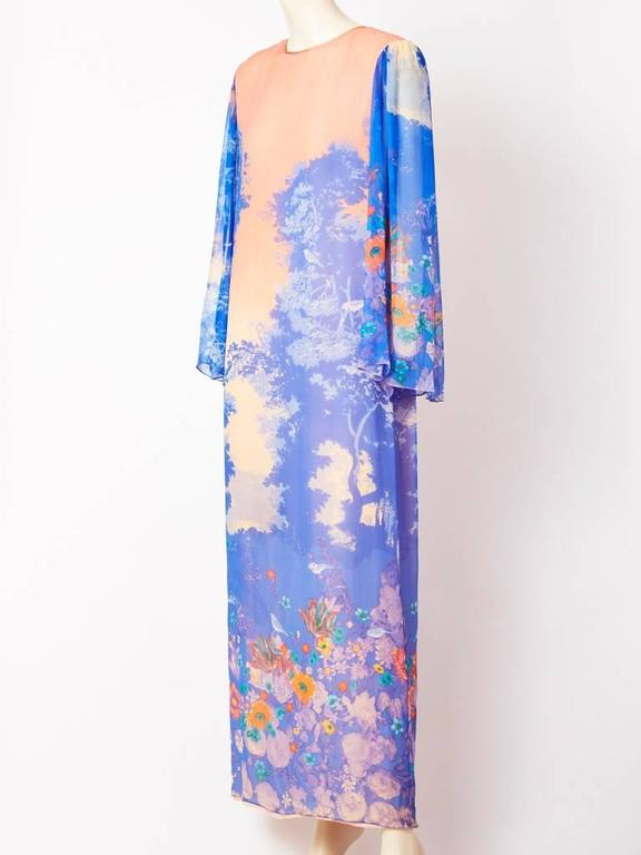 Hanae Mori, blue and peach, floral pattern, chiffon, long, sheath having a peach chiffon under layer and sheer sleeves that gather slightly at the shoulder.