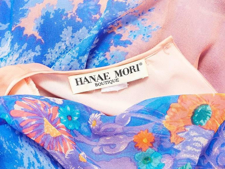 Hanae Mori Floral Chiffon Pattern Sheath In Excellent Condition For Sale In New York, NY