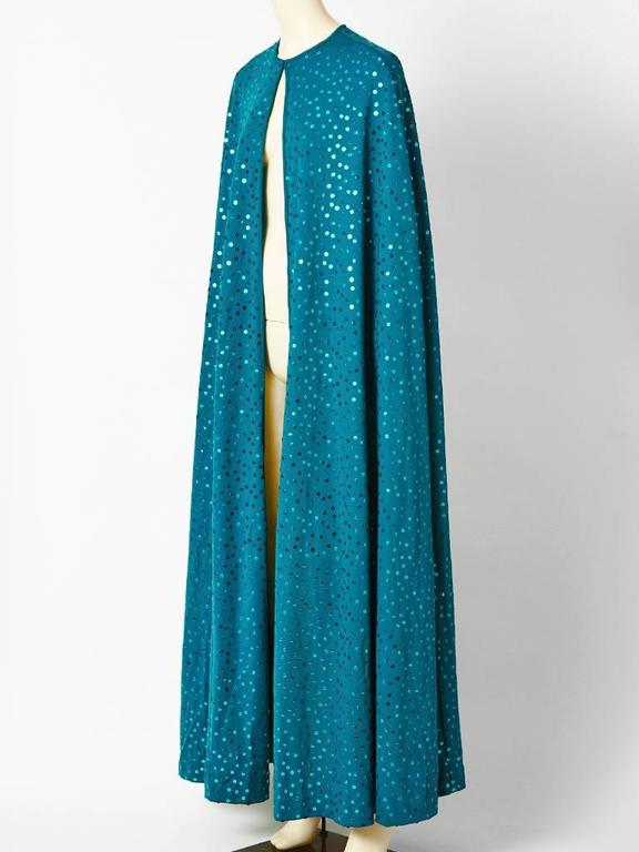 Clovis Ruffin Teal Blue Jersey Sequined Cape 2