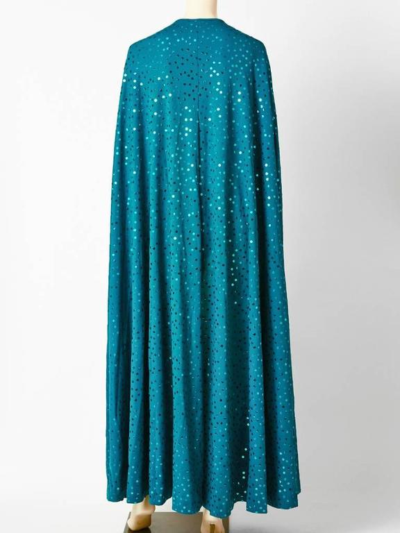 Clovis Ruffin Teal Blue Jersey Sequined Cape 3