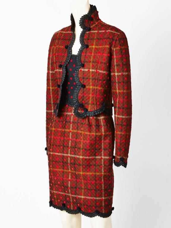 Brown Geoffrey Beene Quilted Plaid and Polkda Dot Dress and Jacket Ensemble For Sale