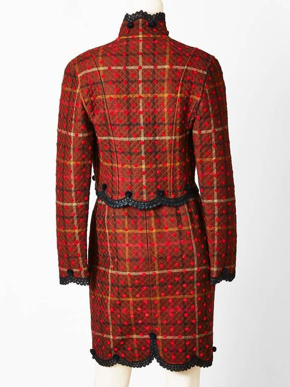 Geoffrey Beene Quilted Plaid and Polkda Dot Dress and Jacket Ensemble In Excellent Condition For Sale In New York, NY