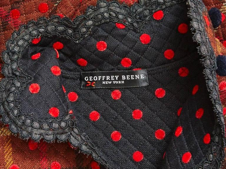 Geoffrey Beene Quilted Plaid and Polkda Dot Dress and Jacket Ensemble 5