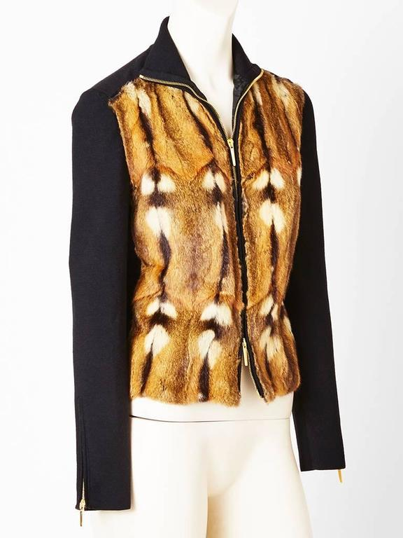 Tom Ford, for Gucci, zip front, wool and silk knit cardigan having a turtle neck and front panels of camel tone fur. Label reads
