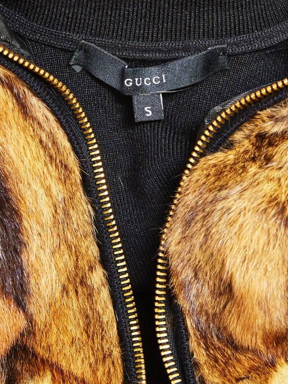 Tom Ford for Gucci Fur and Wool Knit Zip Front Cardigan In Excellent Condition For Sale In New York, NY