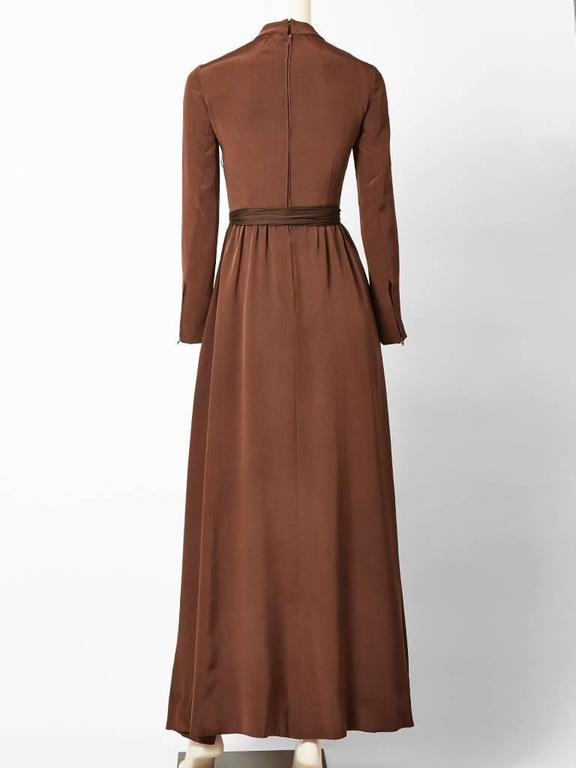 Brown Ronald Amey Chiffon Gown with Ruffle Detail For Sale