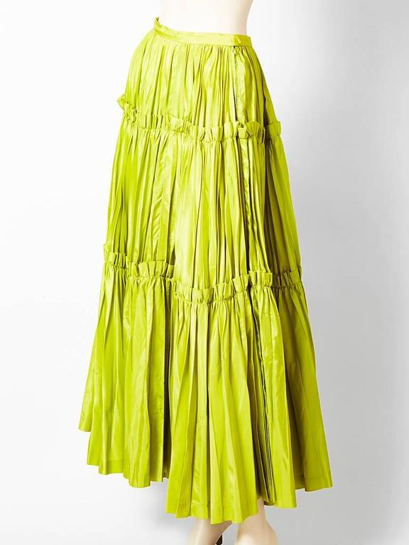 Yves Saint Laurent  Chartreuse Taffeta Gypsy Skirt 2