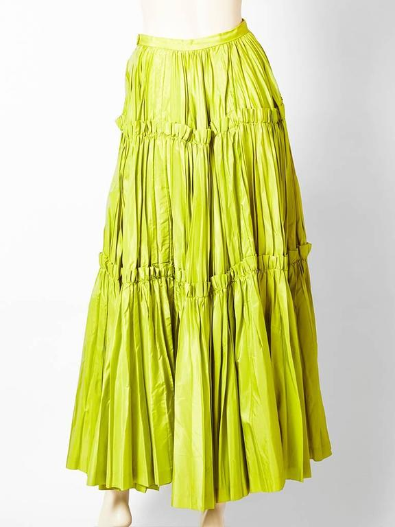 Yves Saint Laurent  Chartreuse Taffeta Gypsy Skirt 3