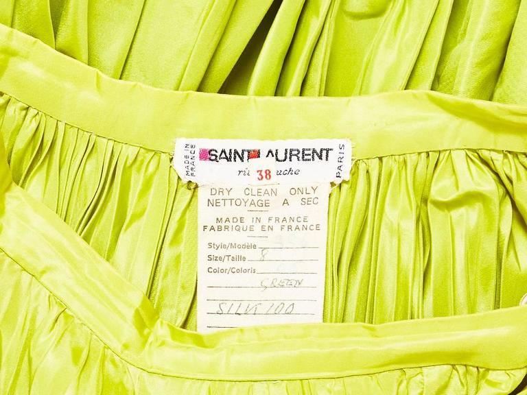 Yves Saint Laurent  Chartreuse Taffeta Gypsy Skirt 4