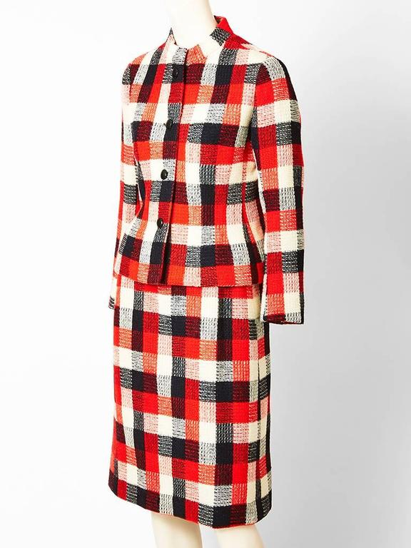 Beige Givenchy Couture Plaid Day Suit For Sale