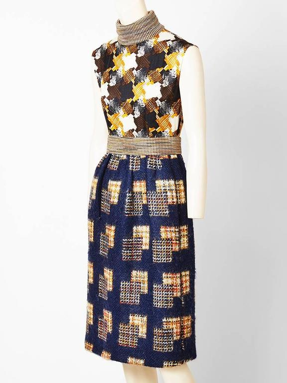 Ronald Amy Textured Wool Tweed Dress Ensemble In Excellent Condition For Sale In New York, NY