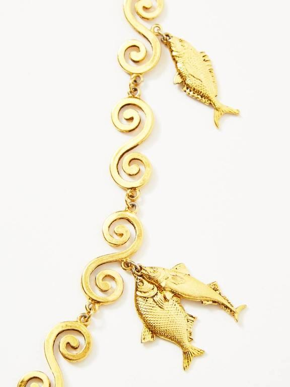 Yves saint laurent gold fish charm necklace at 1stdibs for Gold fish charm