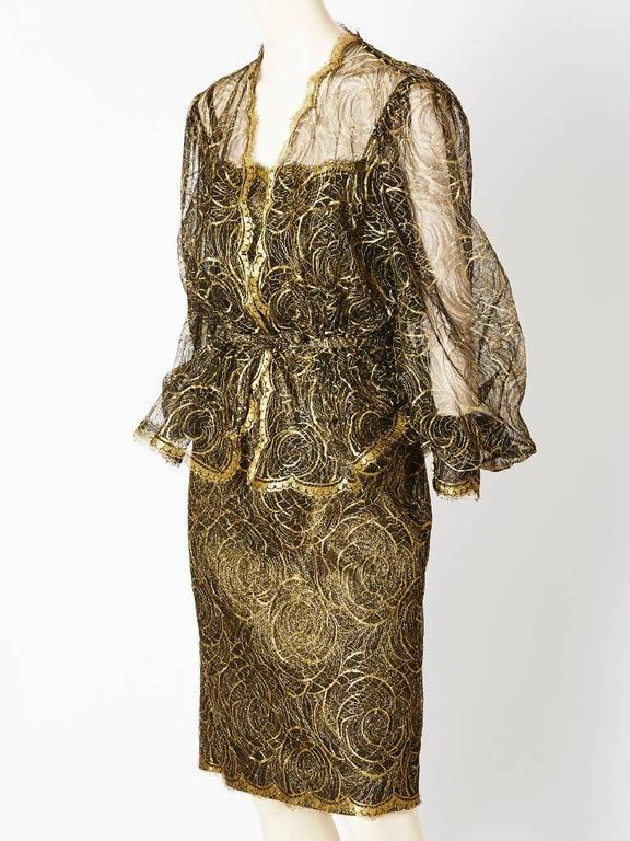 Pauline Trigere Gold Lace Jacket and Dress Cocktail Ensemble 2