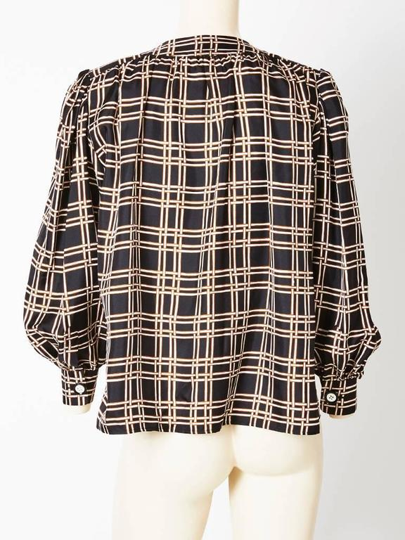 Black Yves Saint Laurent Smock Style Blouse For Sale