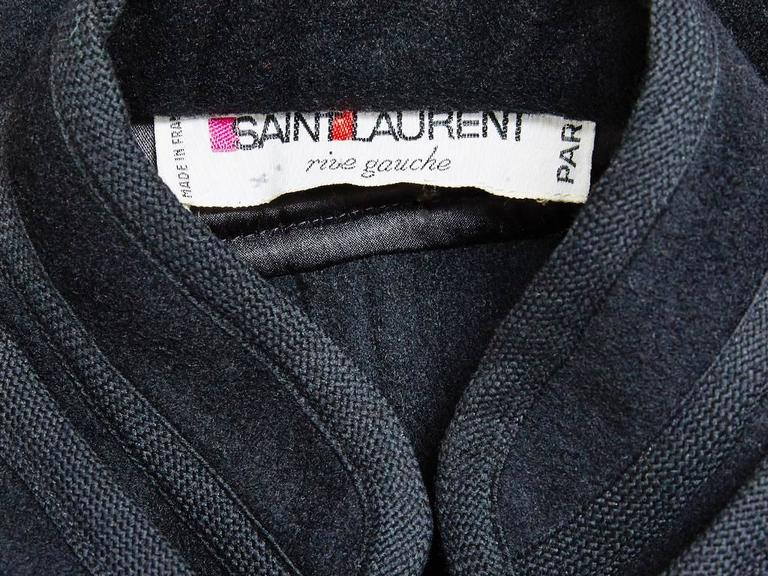 "Yves Saint Laurent Wool ""Gendarme"" Cape In Excellent Condition For Sale In New York, NY"