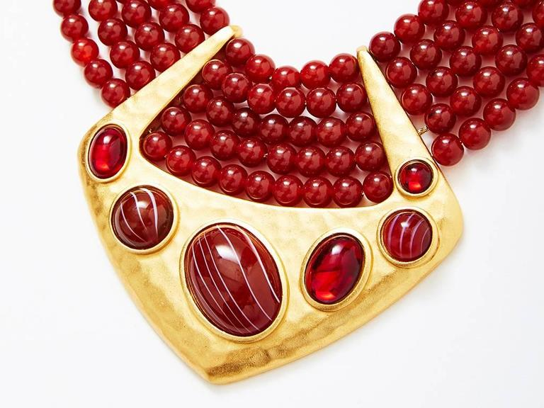 Yves Saint Laurent Multistrand Bib Necklace with Hammered Gold Detail 2