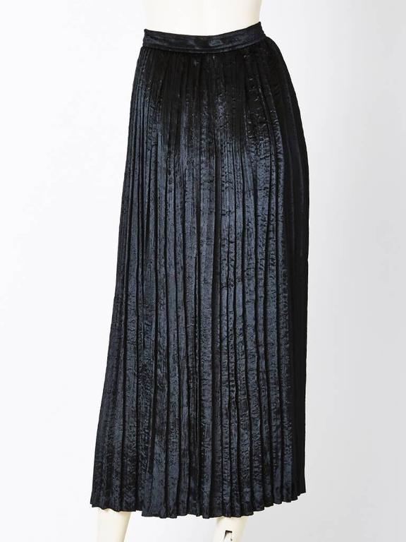 Black Yves Saint Laurent Crushed Velvet Pleated Skirt For Sale